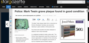 mark twain, grave plaque, memorial