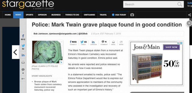 mark twain, grave plaque, memorial