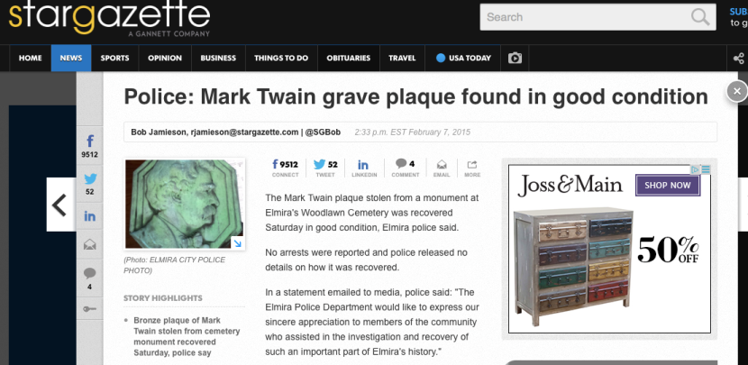 The Irony: Someone Stole Mark Twain's MemorialPlaque.