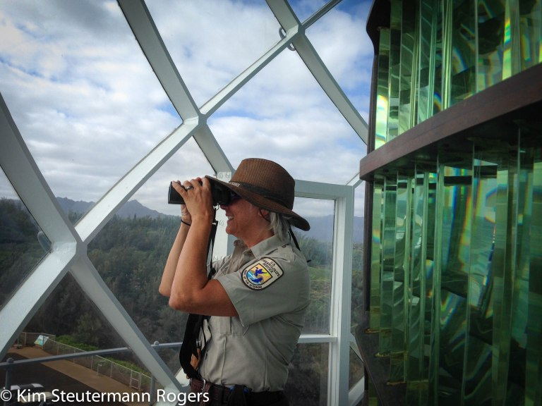 Ranger Rogers in the Lantern Room at Kilauea Lighthouse.
