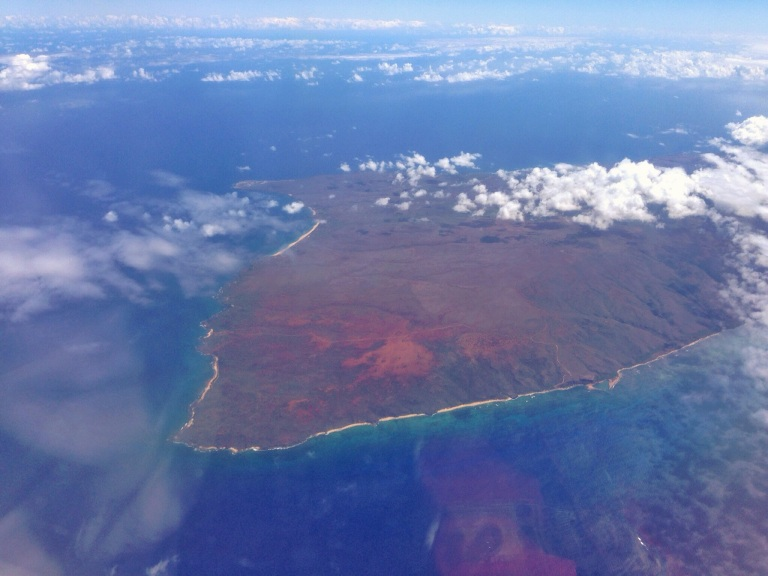 Flying over the west end of Moloka'i.