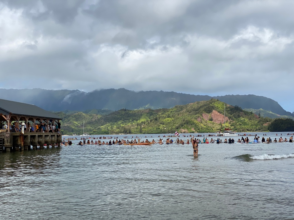 Hanalei Paddle Out Pier
